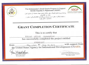 Grant Completion Certificate awarded by ASGP, part of USAID project.