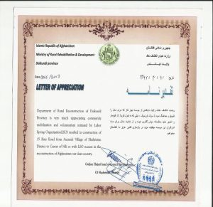 Department of Rural Rehabilitation and Development awarded LSO an appreciation letter on voluntary initiatives for road construction.
