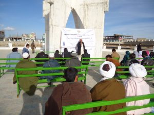 LSO, Provincial Council and CSOs held joint advocacy campaign to oversight and monitor government public services delivery in Nili, provincial square,  in front of Daikundi governor office on December, 20th, 2016.
